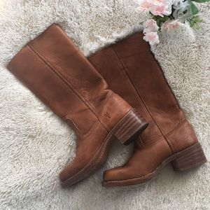 Frye Tall Western Heeled Boots Brown Tan 7.5